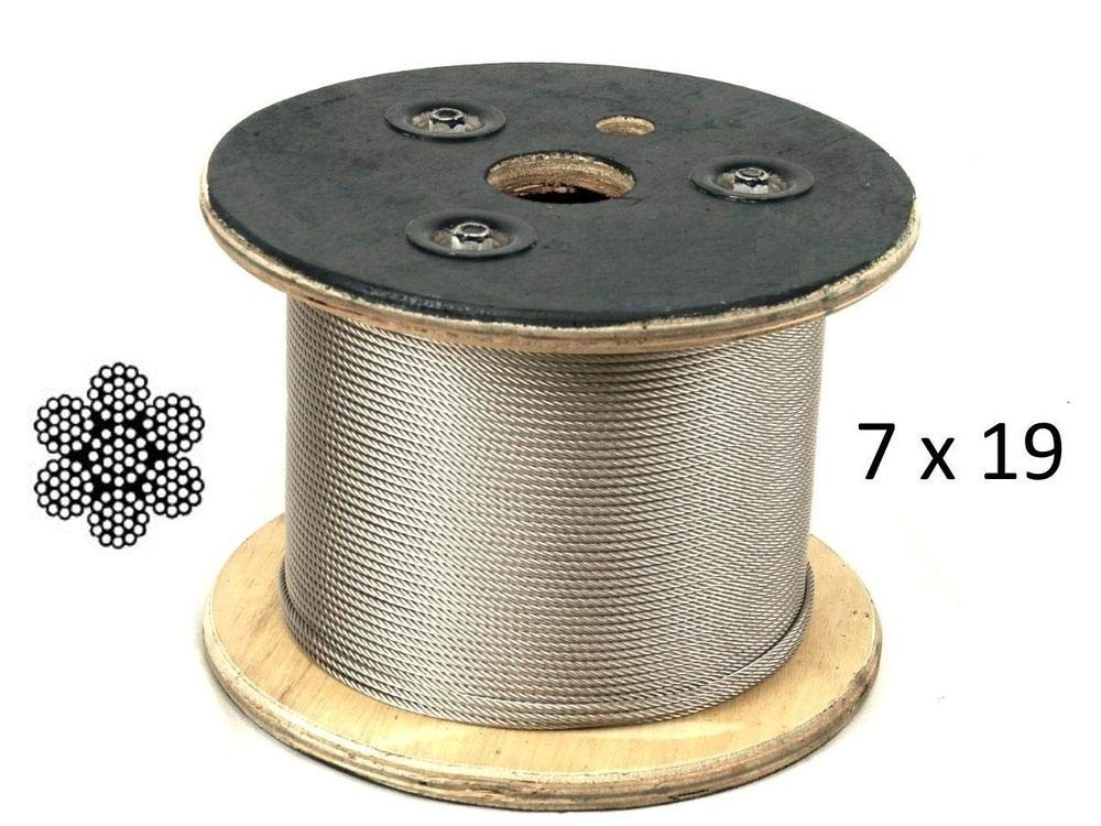 CRS 1/8'', 7x19, 316 Stainless Steel Marine Grade Cable Extra Flexible (1000 ft Reel)