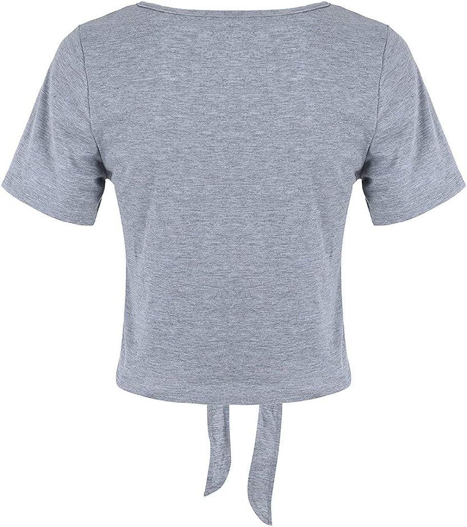 JURTEE Camiseta para Mujer Nuevo Suave Solid Color Anudado Fuera del Ombligo Tops Blusas Manga Corta De Verano: Amazon.es: Ropa y accesorios