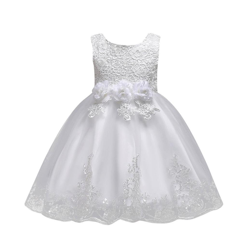 Kobay Floral Baby Girl Princess Bridesmaid Pageant Gown Birthday Party Wedding Dress Sleeveless Party Dresses Girl Clothes Suitable for Old Baby