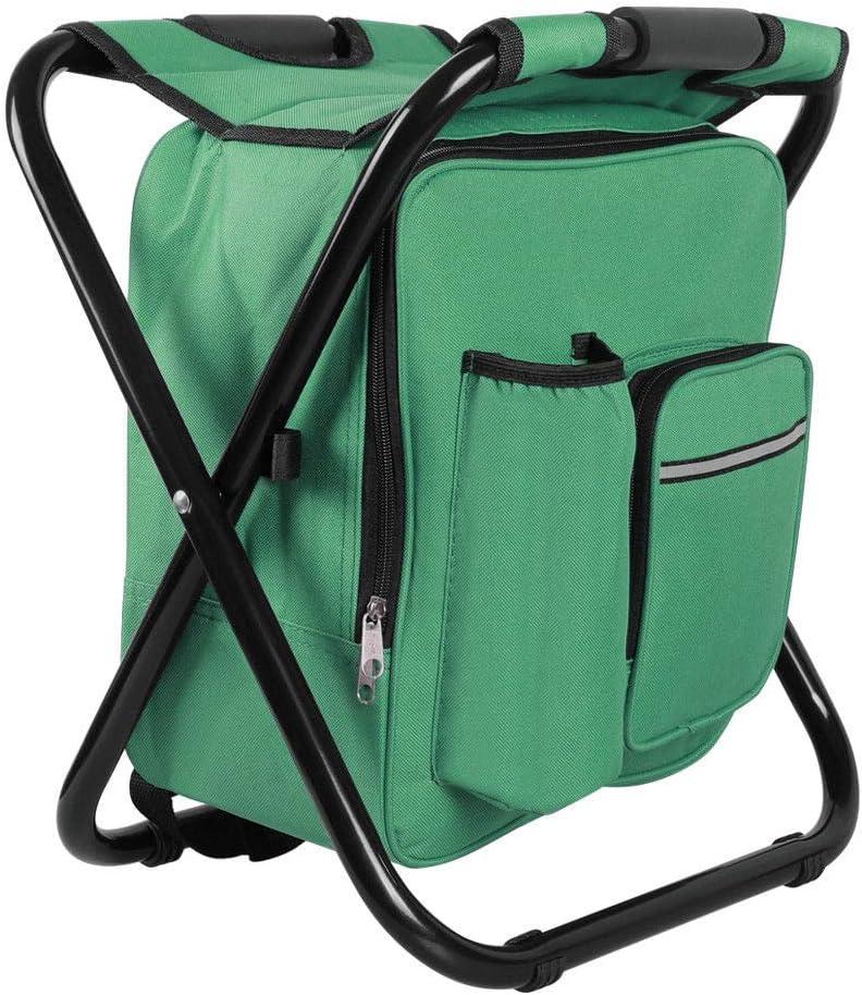 Asher Amada Folding Stool Insulated Cooler Bag Backpack Chair Beach Fishing Camping Hiking Green