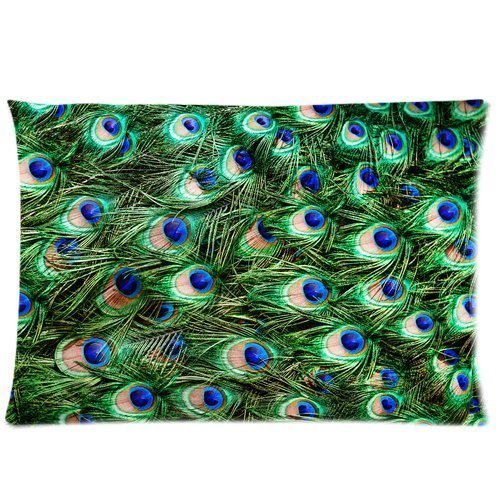 Beautiful Peacock Feather Pattern Pillowcase Standard Pillow Cover 20*30 inches (one side)