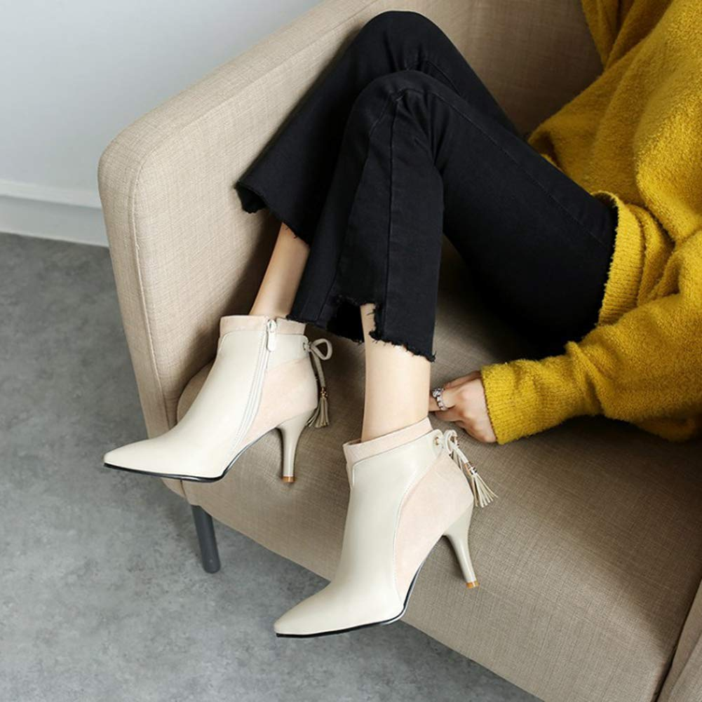 Btrada Women's Autumn Fashion Pointed Pointed Pointed Toe Ankle Boots Sexy Thin Heel Back Bowknot Dress Pump Booties B07H69YP4F Bootie b0c2a2