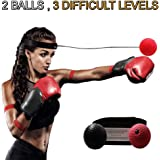 Boxing Reflex Ball - Boxer Ball to Improve Speed Reaction Training - Boxing Gym Equipment Training & Fitness - Portable & Lightweight Perfect Men & Women - 2 Balls Included