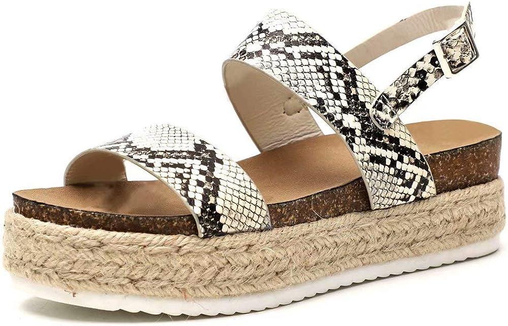 Verano Plataformas Chanclas Elegante Sandalias Punta Abierta Zapatos Beige Negro Serpiente Marr/ón Tama/ño 35-43 EU Sandalias Cu/ña Mujer