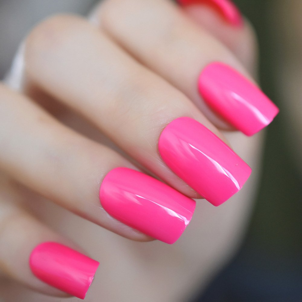 CoolNail Hot Pink Rose Fake Nails UV Effect False Nails Square Candy Color Faux Ongles Full