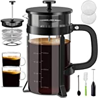Upgraded French Press Coffee Maker - 34 oz French Coffee Press Set Includes Coffee Cups/Milk Frother Coffee Press with 4…