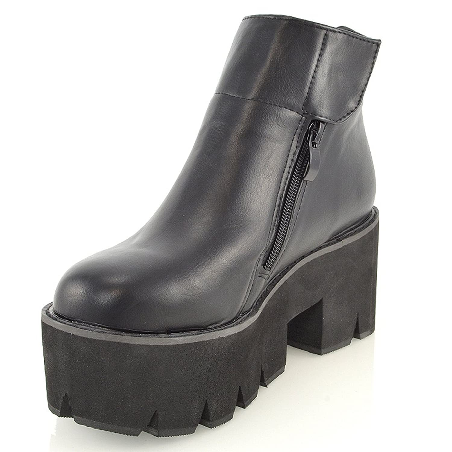 7cf025caa73 LADIES CHUNKY CLEATED SOLE GOTH PLATFORM BLOCK HEEL WOMENS ANKLE BOOTS  SHOES 3-8 (UK 4   EU 37   US 6