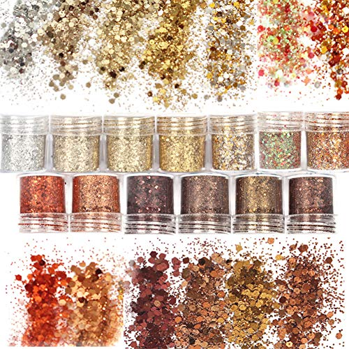 Laza 13 Colors 0.35oz /10g Glitter Nail Art Acrylic Nails Powder, Mixed Retro Copper Chunky Sequins Iridescent Flakes Ultra-thin Paillette Sparkles Tips for Cosmetic Face Eyes Body Hair - Golden Age