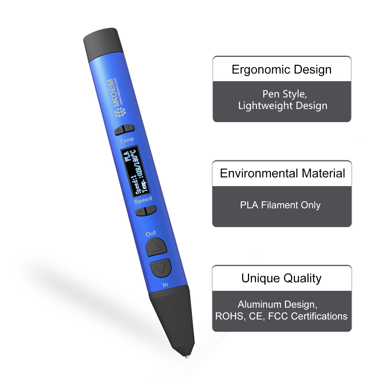 Blue OLED Display 1.75mm PLA Filament Support with Finger Caps MKOEM 3D Pen Full-Metal