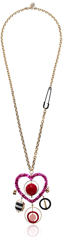 One Size Pink Multi Betsey Johnson GBG Womens Heart /& Bead Statement Pendant Long Necklace