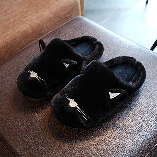 Fankou carino pantofole di cotone femmina cartoon inverno soggiorno anti-slittamento stereo spessa gatto paw ,38-39,B- nero pantofole di cotone