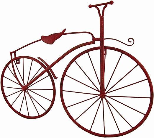Zeckos Rojo Acabado de Metal Vintage Alta Rueda Bicicleta Colgar ...