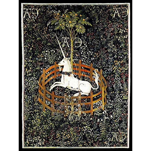 (Wee Blue Coo Painting Medieval Tapestry Unknown Hunt Unicorn Captivity Unframed Wall Art Print Poster Home Decor Premium)