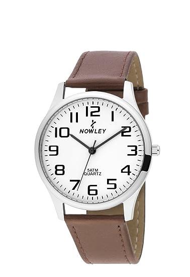 Reloj hombre, marca Nowley, caja de acero con esfera blanca y números negros,