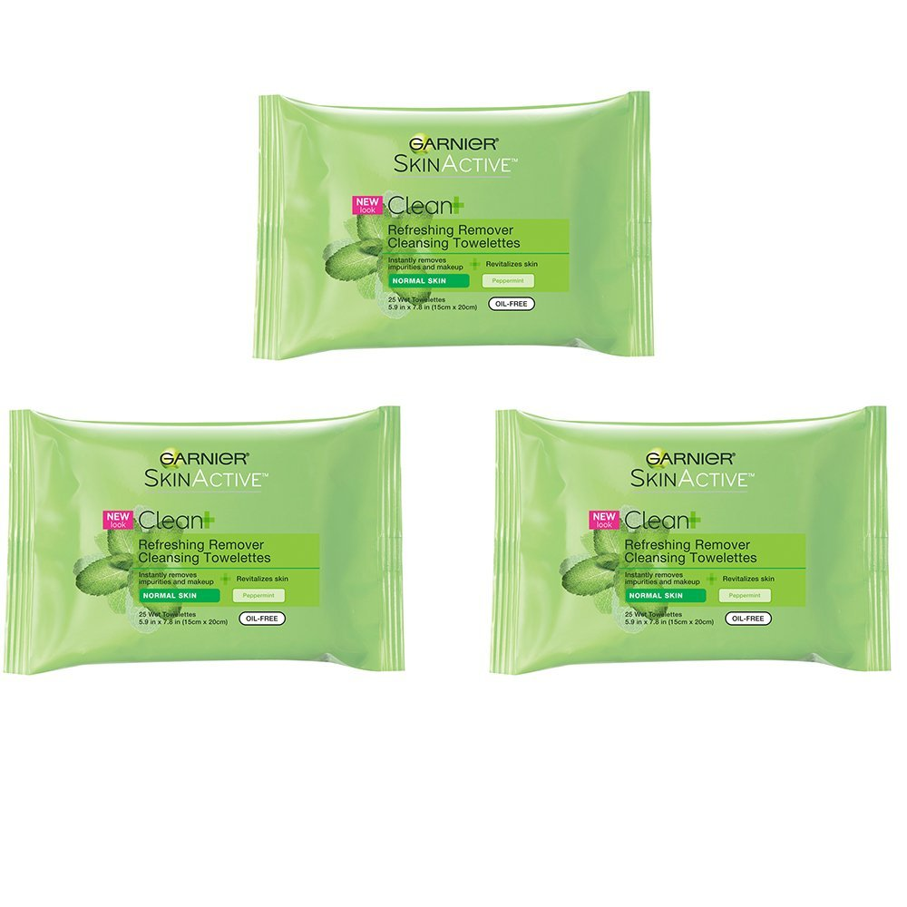 Garnier SkinActive Clean+ Refreshing Makeup Remover Wipes,3 Count