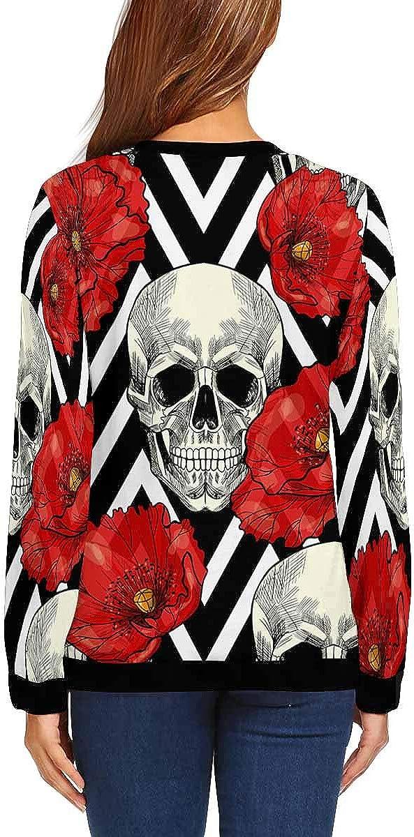 XS-XL INTERESTPRINT Womens Casual Pullover Tops Skull Red Poppies Long Sleeve Sweatshirt
