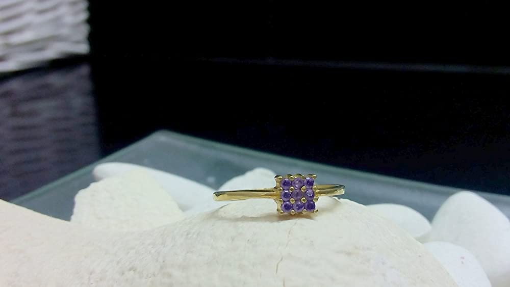 Gold Purple ring SALE Square ring,Lace ring,Stackable ring,February Birthstone Ring,wedding ring, Amethyst Ring,Gemstone Ring