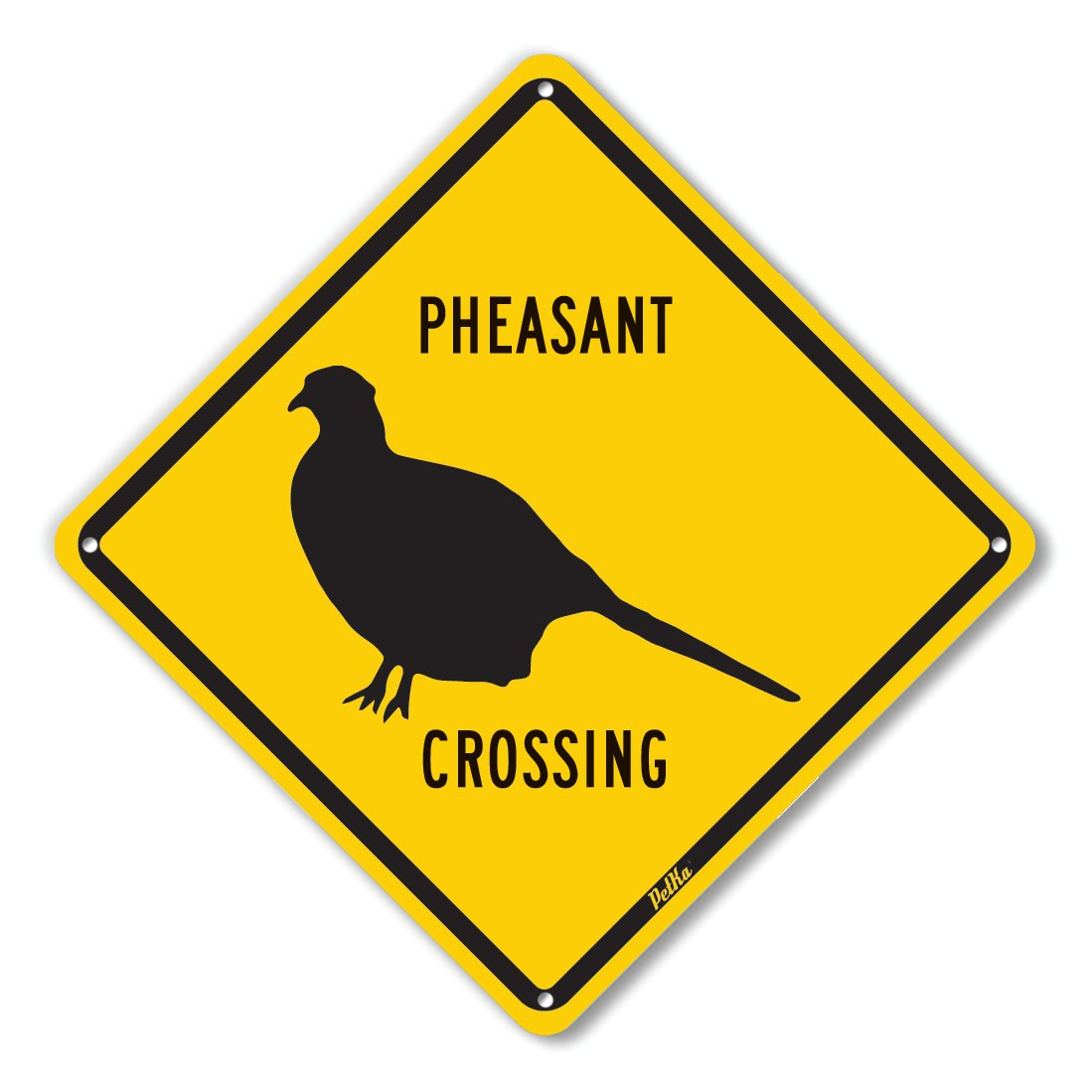 PetKa Signs and Graphics PKAC-0034-NA_10x10''Pheasant Crossing'' Aluminum Sign, 10'' x 10'', Black on Yellow