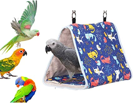 Clicks Small Parrot Hammock Hanging Bed for Cage Plush Bird Hut Bird Nest Bed Small Animals Hanging Hammock Toy for Parakeet Cockatiel African Grey  Lovebirds Finch Canary Parrots,L