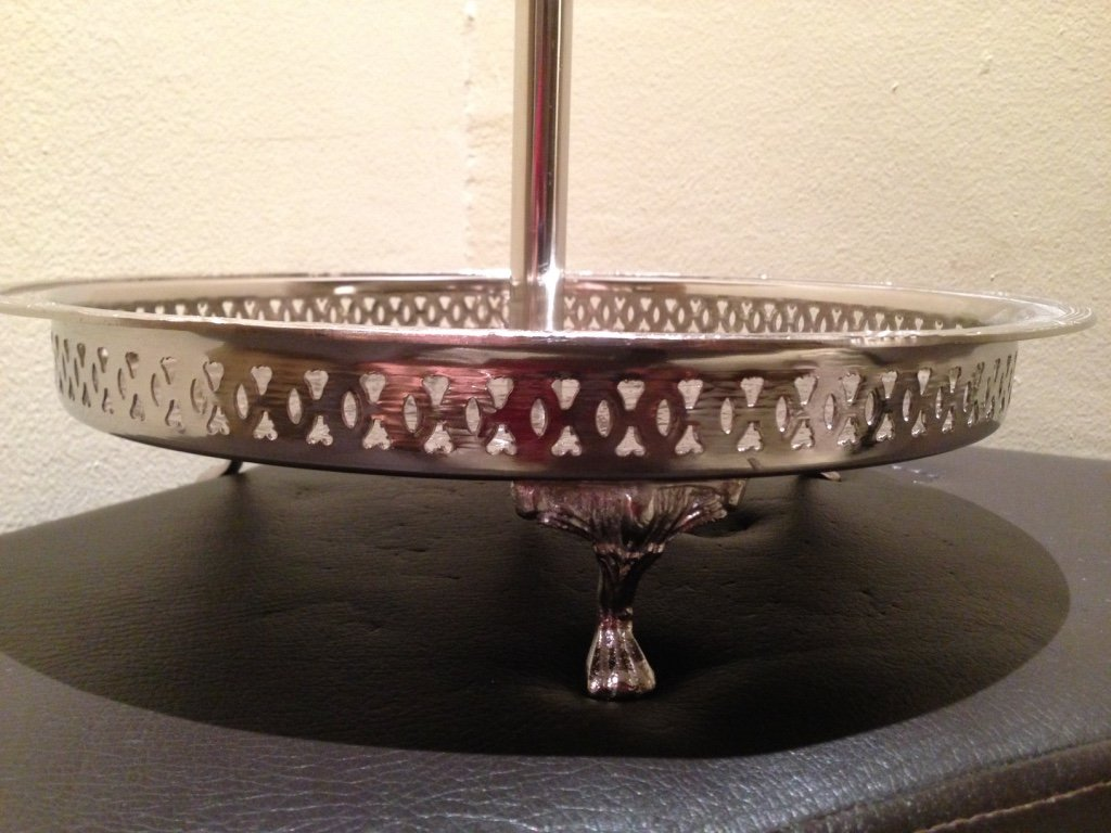 Authentic Handmade Moroccan 3 Tier Silver Plated Brass Hand hammered Cookies Tray Cake Stand Modern Design by Marrackech Decor (Image #7)