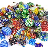 Over 100 Pieces 6mm~25mm Mix Shapes & Colors Millefiori Lampwork Glass Beads, Round, Square, Oval, Tube, Heart. Great…