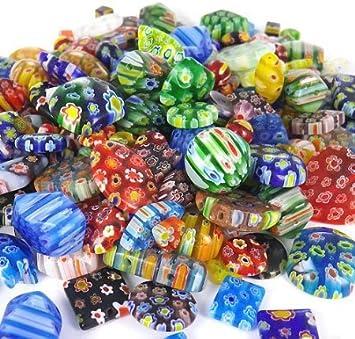 100 Gram Over 100pcs 6mm25mm Mix Shapes u0026 Colors Millefiori Lampwork  Glass Beads