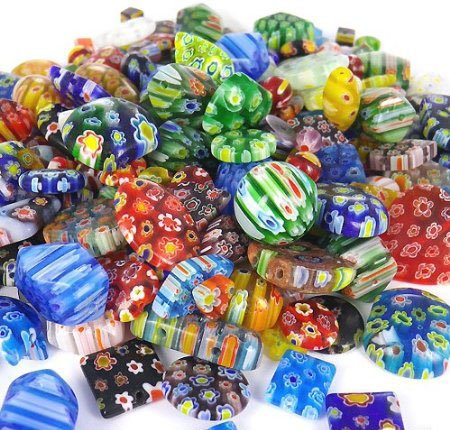 100 Gram, Over 100pcs 6mm~25mm Mix Shapes & Colors Millefiori Lampwork Glass Beads, Round, Square, Oval, Tube, Heart... Great Lot, Must -