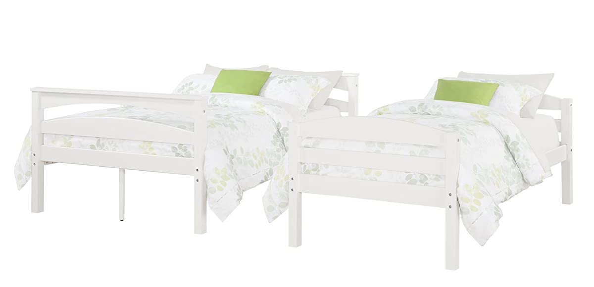 Dorel Living Brady Twin over Full Solid Wood Kids Bunk Bed with Ladder, White