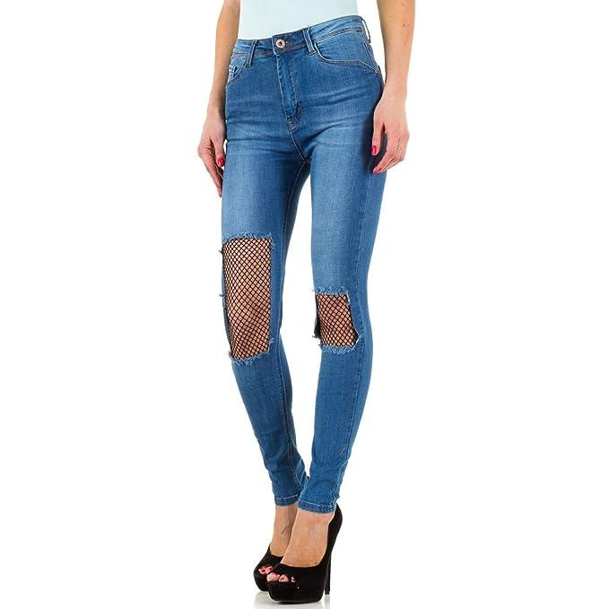 6c90eea88a70 Ital-Design Relaxed Fit Netz Jeans Für Damen  Amazon.de  Bekleidung