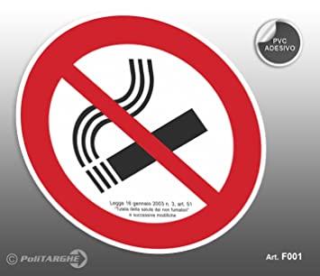 Cartel Adhesivo de PVC Diámetro cm 12,5 prohibido fumar ...