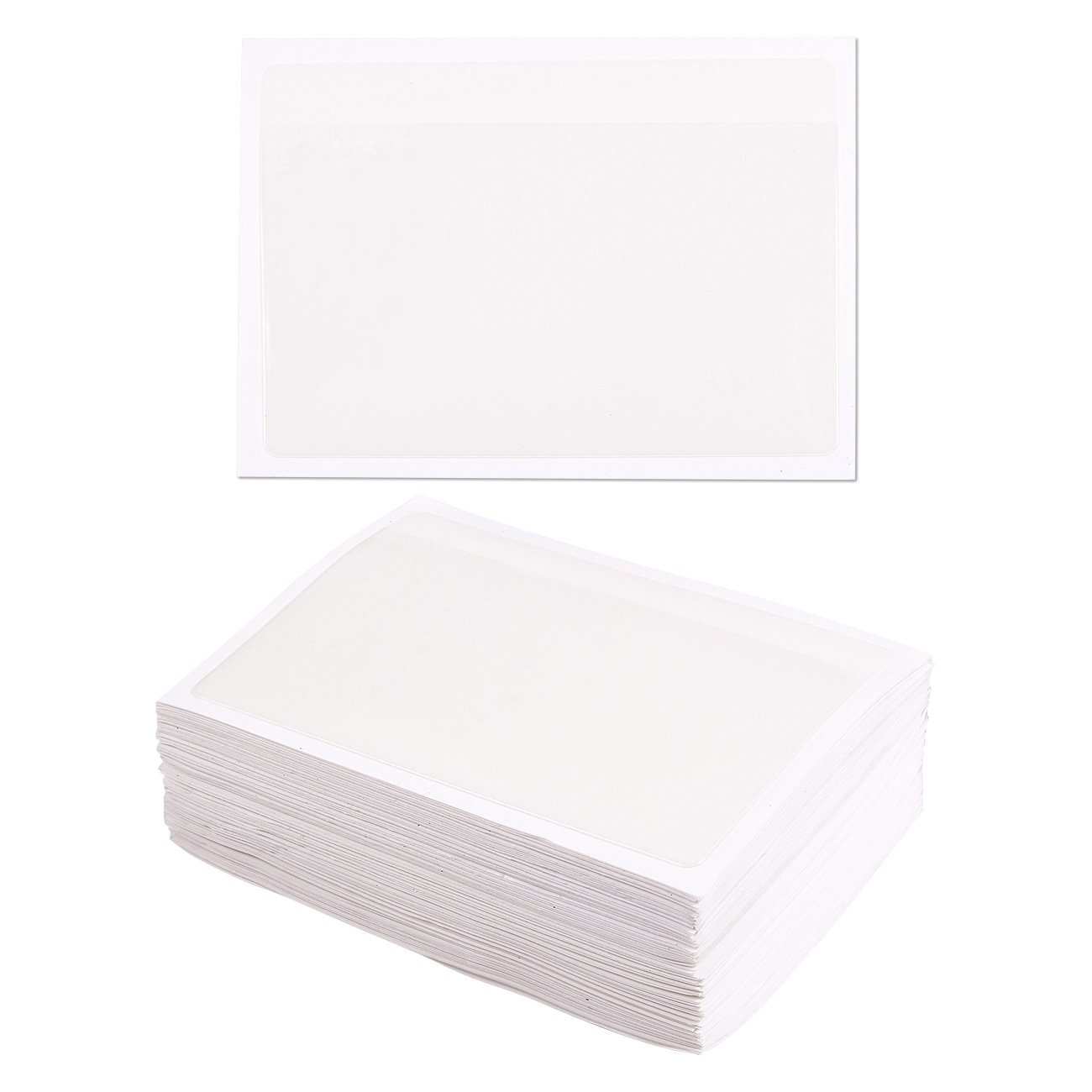 100-Pack Self-Adhesive Index Card Pockets with Top Open for Loading - Ideal Card Holder for Organizing and Protecting Your Index Cards - Crystal Clear Plastic, 3.6 x 5.25 Inches