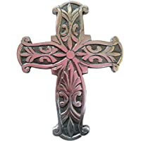Ardour Decorative Wall Cross for Home Decor.Metal Hanging decorative crosses wall decor Silver Nickel Finish 7.2 x 9.5 Inches