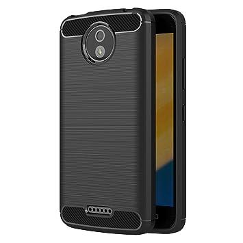 AICEK Funda Moto C Plus, Negro Silicona Fundas para Motorola Moto C Plus Carcasa Motorola C Plus Fibra de Carbono Funda Case (5,0 Pulgadas)