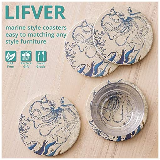 Octopus On World Map Novelty Design Lifver Absorbent Stone Coasters With Holder Set of 6 Coasters for Drinks and Cork Baking