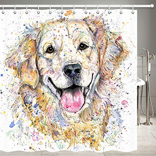 JAWO Dog Shower Curtain for Bathroom, Funny Golden Retriever Dog Humorous Cute Funny Watercolor Cool Puppy Picture, Fabric Bathroom Curtain with Shower Curtain Hooks, 72X72 Inches ()