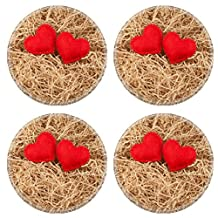 Luxlady Natural Rubber Round Coasters IMAGE ID: 24722738 Two felt red hearts on the sawdust