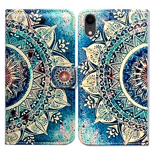 (Bfun Packing iPhone XR Case,Bcov Green Circular Mandala Card Slot Wallet Leather Cover Case for iPhone XR)