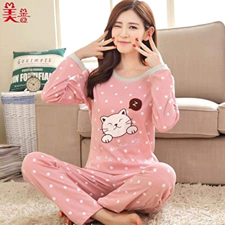 JFCDB Yukata Primavera Verano Pijamas de Mujer Conjunto de Pijamas de Manga Larga de algodón Fino Conjunto de chándal de Estudiante Conjuntos de Pijamas Femeninos Traje de Noche Ropa de Dormir, d: