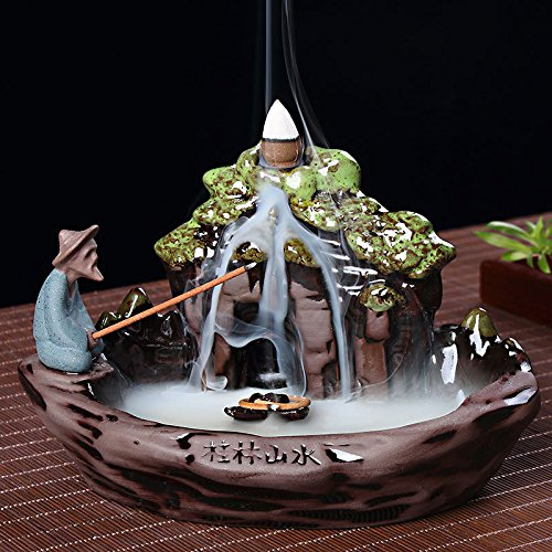Zen Garden Fisherman Big Ceramic Incense Burner Backflow Incense Burner Holder Set Incense Cones Incense Stick Holder for Home Office Decor 7.5''X4.5''X4.7'' by MAYMII·HOME (Image #2)