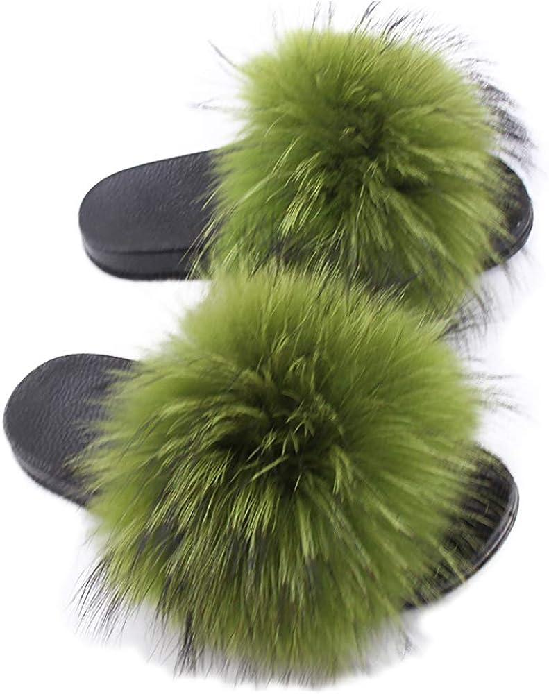 Yu He Women's Luxury Real Raccon Fur Slippers Slides Indoor Outdoor Flat Soles