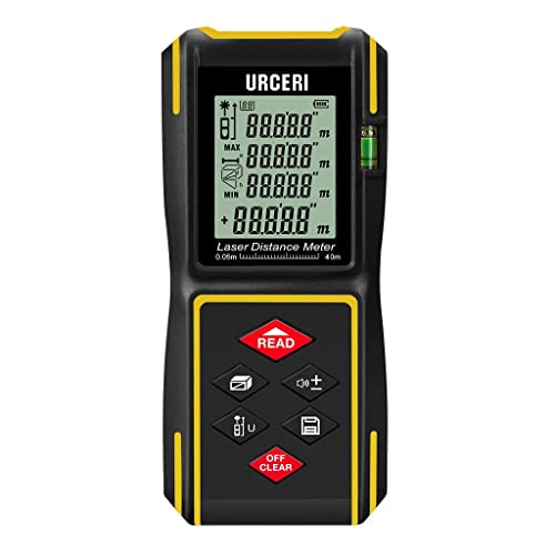 URCERI ZL-40 Laser Distance Measure 131 Feet M/In/Ft Digital Laser Meter with IP54 Waterproof Shell, Bubble Levels, Single Continuous Modes, +/- 2mm Accuracy, Battery Included