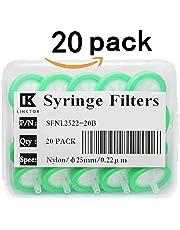 LINKTOR Syringe Filter Nylon Orangnic Filtration, 25mm Diameter 0.22um Pore Size Non-sterile Pack of 12 (Pack of 20)