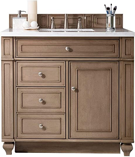 James Martin Bristol 36 Single Bathroom Vanity in Whitewashed Walnut Top Not Included
