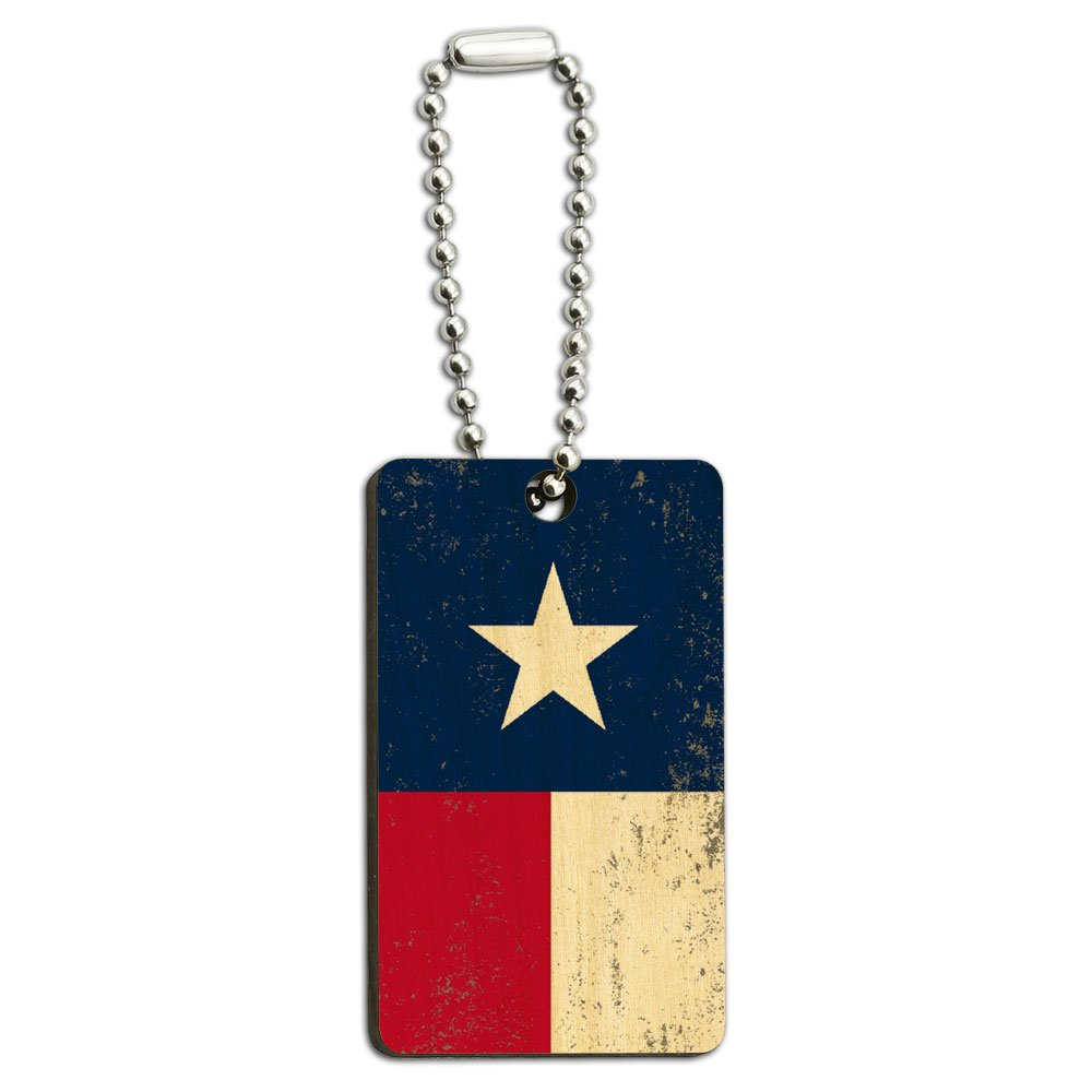 Texas Flag Distressed Wood Wooden Rectangle Key Chain