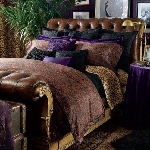 Lauren by Ralph Lauren New Bohemian Purple Velvet EURO Pillow Sham by Lauren by Ralph Lauren
