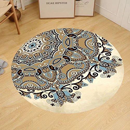 Gzhihine Custom round floor mat Mandala Ethnic Indian Flower Circle on Lace Ornaments Traditional Boho Design Bedroom Living Room Dorm Cream Cocoa Light Blue