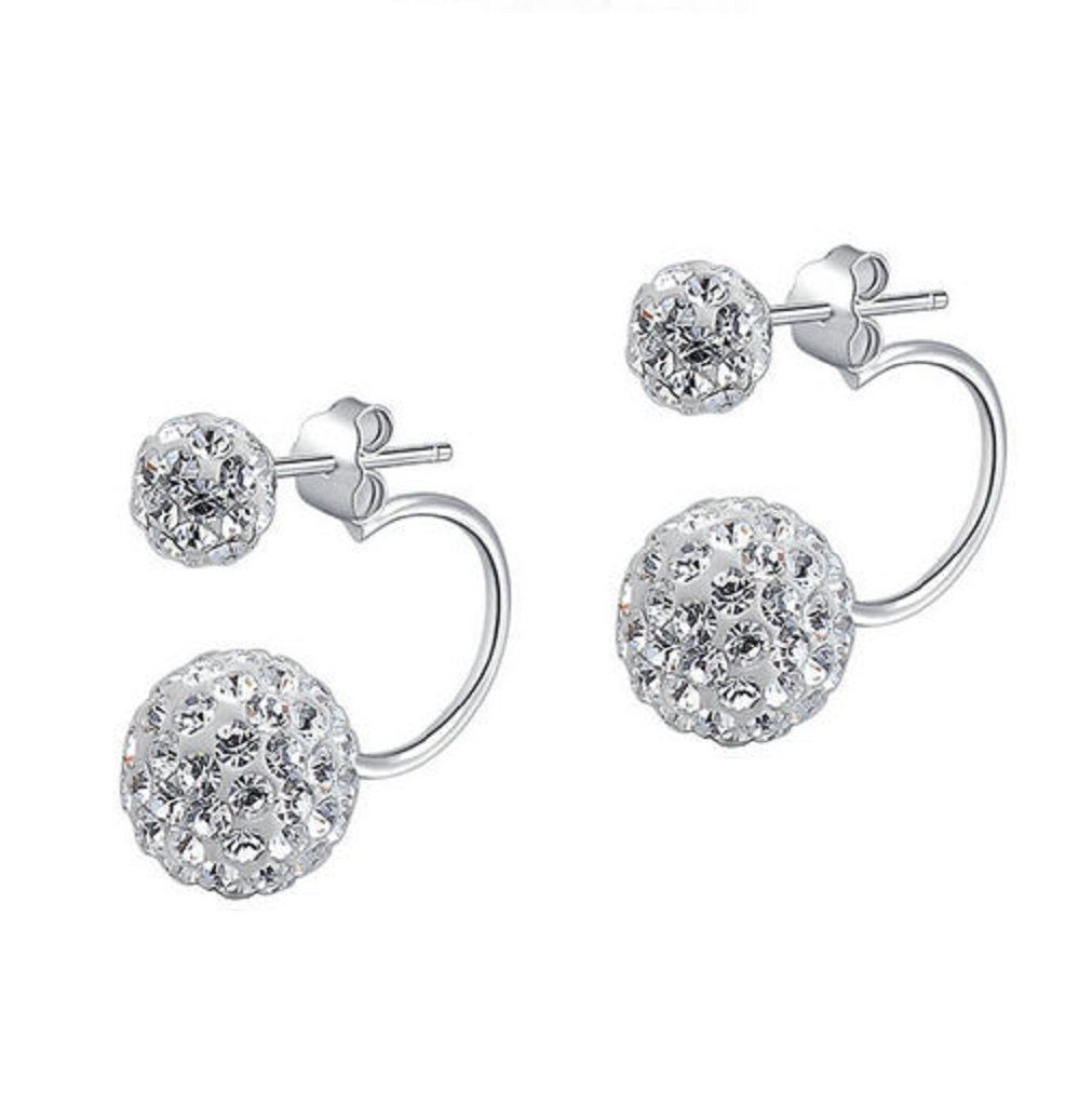 Cubic Zirconia Sphere Double Earrings Sterling Silver
