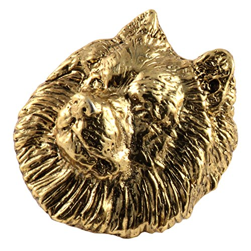 (Creative Pewter Designs Samoyed Dog 22k Gold Plated Lapel Pin, Brooch, Jewelry, DG154)
