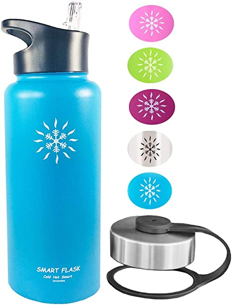 SS 32oz Smart Flask Stainless Steel Vacuum Insulated Water Bottle,Straw lid