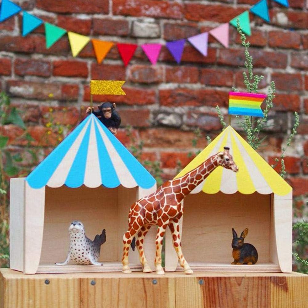 Eruditter Zirkus Kabine Haus Regal Ornamente H/ängende Aufbewahrungsbox Kinderzimmer Dekoration